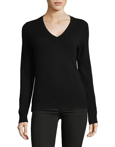 Lord & Taylor Plus Cashmere V-Neck Sweater-EBONY-1X