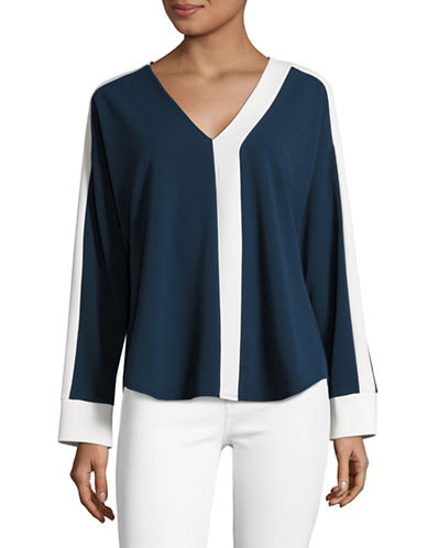 H Halston Contrast Trim V-Neck Top-BLUE-Medium 88967856_BLUE_Medium