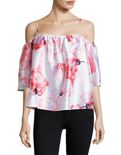 H Halston Floral Cold-Shoulder Blouse-PINK MULTI-Large