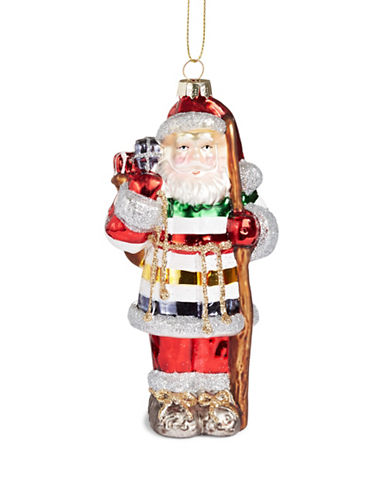 HudsonS Bay Company Hand Painted Santa Ornament-MULTI-One Size