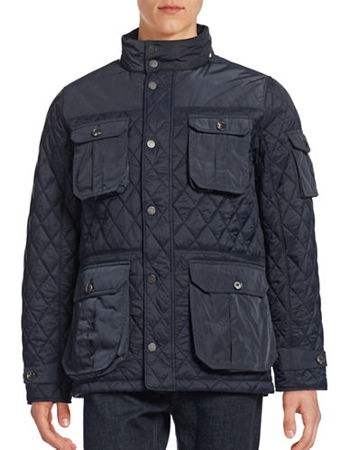 Black Brown 1826 Quilted Button-Pocket Field Jacket-DARK NAVY-Small