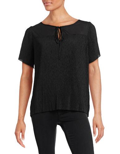 Imnyc Isaac Mizrahi Keyhole Crinkle Top-BLACK-X-Large 88418090_BLACK_X-Large