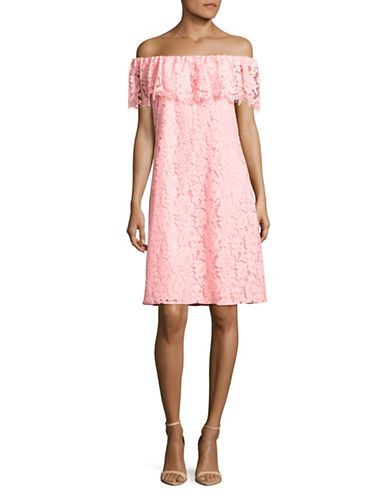 Imnyc Isaac Mizrahi Lace Off-The-Shoulder Dress-PINK-Large
