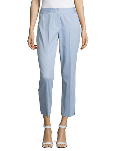 Imnyc Isaac Mizrahi Cotton Sateen Side-Slit Pants-BLUE-10