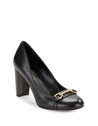 424 Fifth Block Heel Leather Pumps-BLACK-7.5