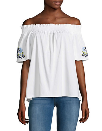 Imnyc Isaac Mizrahi Embroidered Off-Shoulder Top-WHITE-Large
