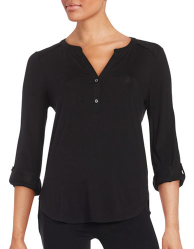 Lord & Taylor Hi-Lo Knit Blouse-BLACK-X-Small 88408805_BLACK_X-Small