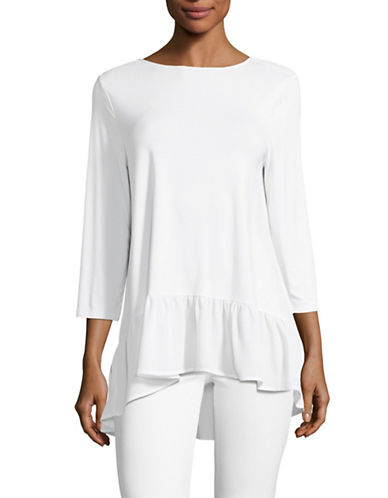 Imnyc Isaac Mizrahi Long Sleeve Woven-Ruffle Top-WHITE-Medium 88985743_WHITE_Medium