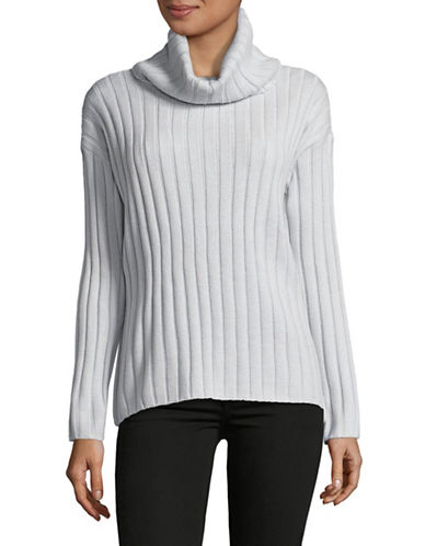 Lord & Taylor Ribbed Turtleneck Sweater-LIGHT GREY HEATHER-Medium
