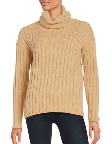 Lord & Taylor Ribbed Turtleneck Sweater-CLASSIC CAMEL HEATHER-Medium