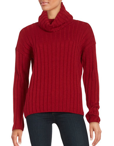 Lord & Taylor Ribbed Turtleneck Sweater-GERANIUM-Small