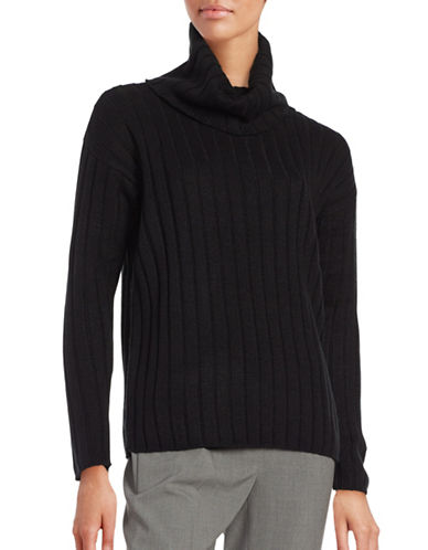 Lord & Taylor Ribbed Turtleneck Sweater-BLACK-Small