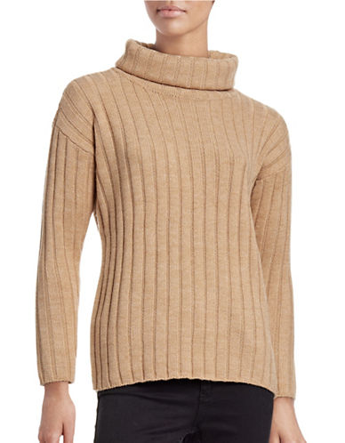 Lord & Taylor Petite Ribbed Turtleneck Sweater-CLASSIC CAMEL HEATHER-Petite Large