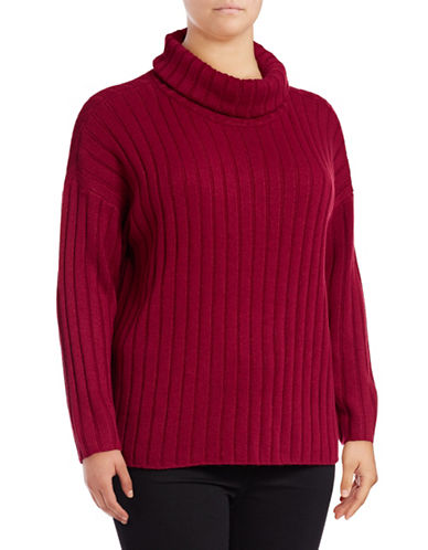 Lord & Taylor Plus Ribbed Turtleneck Sweater-GERANIUM-0X