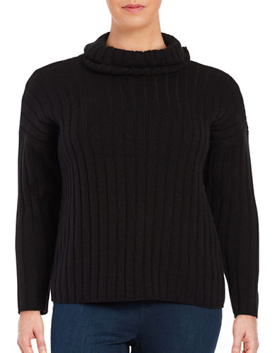 Lord & Taylor Plus Ribbed Turtleneck Sweater-BLACK-0X