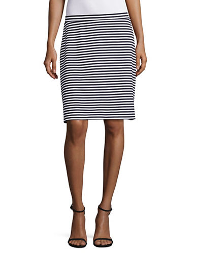 Imnyc Isaac Mizrahi Striped A-line Skirt-NAVY-X-Large