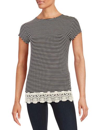 Imnyc Isaac Mizrahi Lace-Trimmed Stripe Tee-BLACK-X-Small 88393542_BLACK_X-Small
