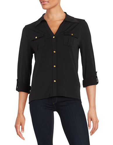 Imnyc Isaac Mizrahi Knit Patch-Pocket Blouse-BLACK-X-Small 88393708_BLACK_X-Small