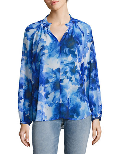 Imnyc Isaac Mizrahi Blue Ink Floral Top-BLUE-X-Small 88990353_BLUE_X-Small