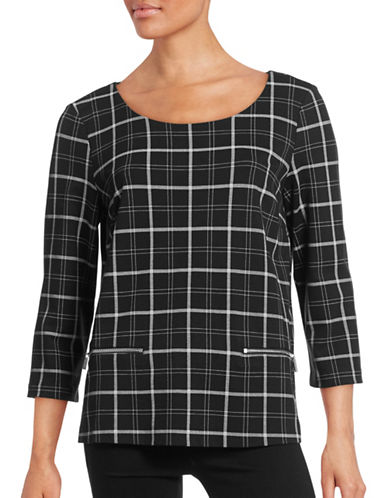 Imnyc Isaac Mizrahi Zip-Detail Shirt-PLAID BLACK-Large