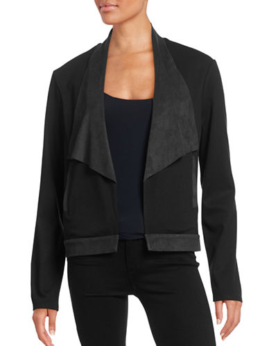 H Halston Waterfall Ponte and Faux Suede Jacket-BLACK-Small 88469459_BLACK_Small