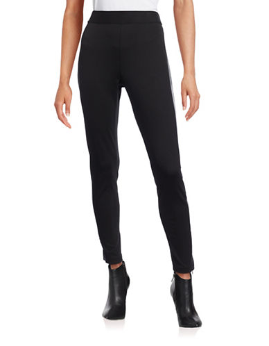 Imnyc Isaac Mizrahi Faux Leather-Trim Leggings-BLACK-Medium 88464112_BLACK_Medium