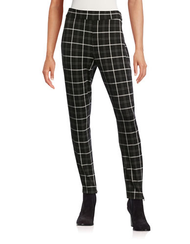 Imnyc Isaac Mizrahi Zip-Hem Pull-On Leggings-PLAID BLACK-X-Large