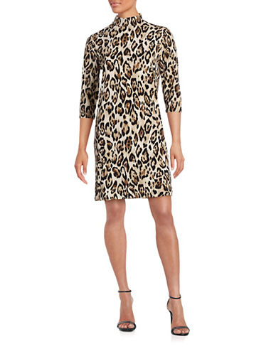 Imnyc Isaac Mizrahi Mock Neck Sheath Dress-ANIMAL PRINT-Large