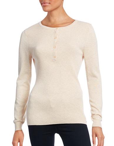 Imnyc Isaac Mizrahi Ribbed Henley Sweater-BEIGE-Large 88468014_BEIGE_Large
