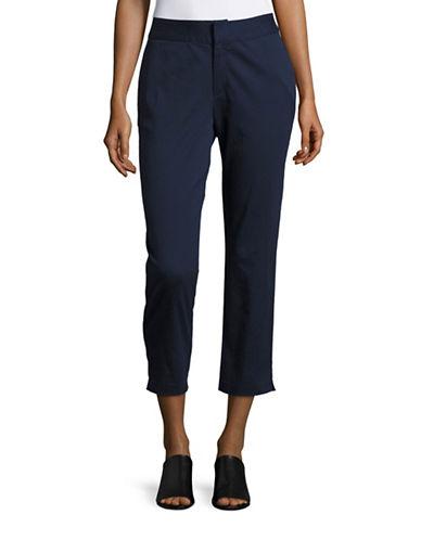 Imnyc Isaac Mizrahi Vented Twill Crop Pants-NAVY-X-Small 88467890_NAVY_X-Small