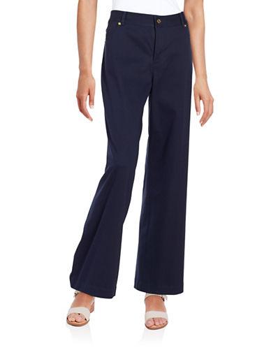 Imnyc Isaac Mizrahi Cotton-Stretch Wide-Leg Pants-NAVY-Large plus size,  plus size fashion plus size appare