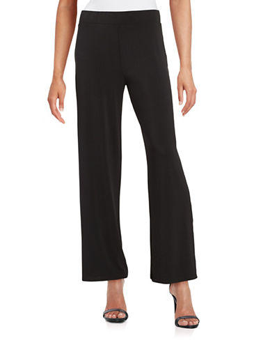 H Halston Wide-Leg Knit Pants-BLACK-Medium