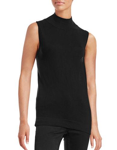 H Halston Sleeveless Mock Neck Sweater-BLACK-X-Small 88469556_BLACK_X-Small