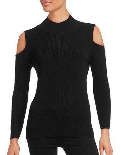 Highline Collective Cold-Shoulder Mock-Neck Sweater-BLACK-X-Small 88468646_BLACK_X-Small