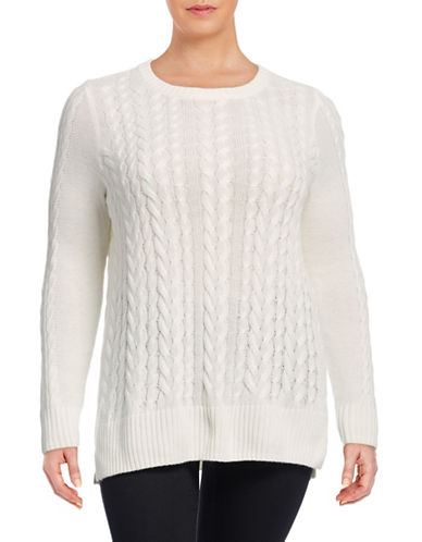 Lord & Taylor Plus Cable-Knit Tunic-IVORY-1X