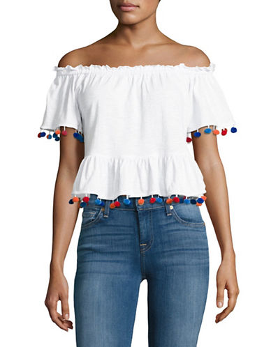 Highline Collective Pop-Pom Off-Shoulder Peplum Top-WHITE-X-Large