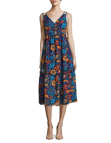 Highline Collective Printed Plunge-Neck Midi Dress-MULTI-Medium