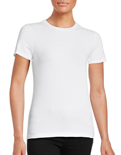 Lord & Taylor Petite Short Sleeve Compact Cotton T-Shirt-WHITE-Petite Medium