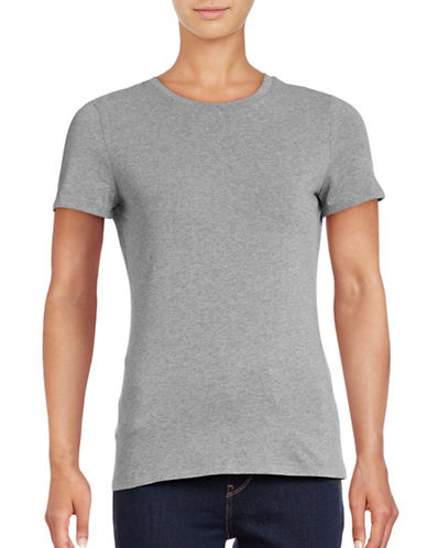 Lord & Taylor Petite Short Sleeve Compact Cotton T-Shirt-HEATHER GREY-Petite Medium