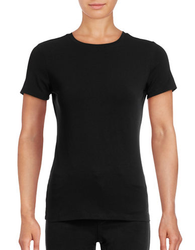 Lord & Taylor Petite Short Sleeve Compact Cotton T-Shirt-BLACK-Petite Medium