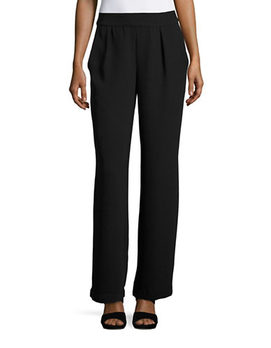 H Halston Pleated Wide-Leg Pants-BLACK-Medium 88497712_BLACK_Medium