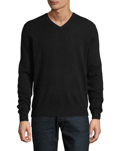 Black Brown 1826 Cashmere V-Neck Sweater-BLACK-X-Large