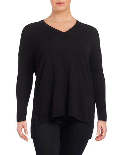 Lord & Taylor Plus Plus Size Vented V-Neck Sweater-BLACK-0X