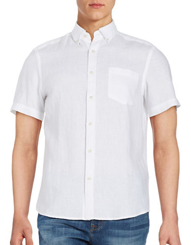 Black Brown 1826 Linen Pocketed Sport Shirt-OPTIC WHITE-Small