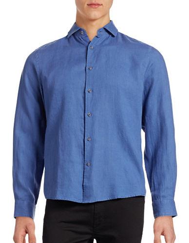 Black Brown 1826 Solid Linen Sport Shirt-SOFT NAVY-XXX-Large