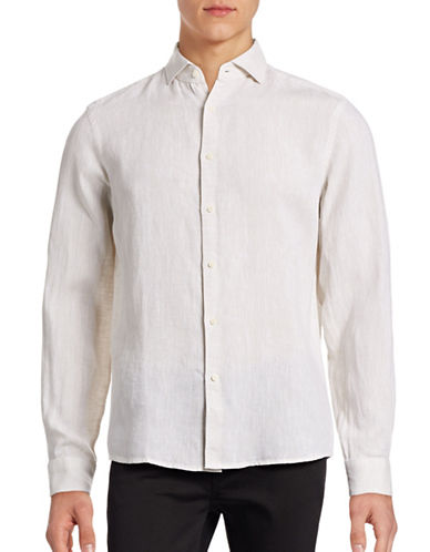 Black Brown 1826 Solid Linen Sport Shirt-NATURAL-XXX-Large