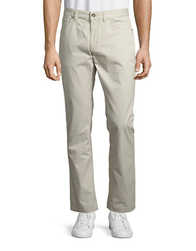 Black Brown 1826 Tailored-Fit Pima Cotton Pants-WHITE-38X30