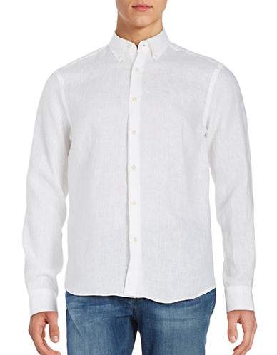 Black Brown 1826 Linen Sport Shirt-BONE WHITE-Small