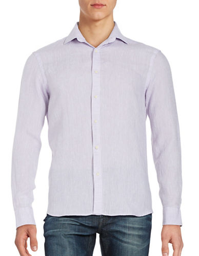 Black Brown 1826 Linen Sport Shirt-VIOLET-XX-Large