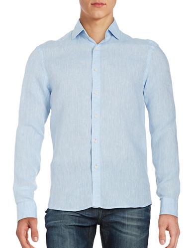 Black Brown 1826 Linen Sport Shirt-BLUE-Small